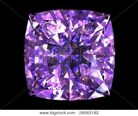 Square shape  amethyst on black background. Gemstone