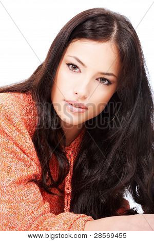 Beautiful Young Girl In A Orange Wool Sweater