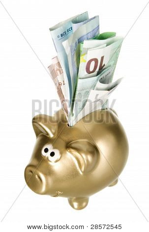 Golden Piggybank With Paper Money