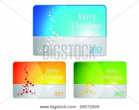 Set of cards with Christmas tree