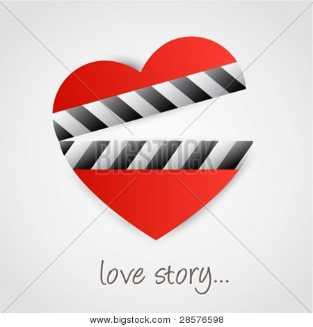 Clapper board with heart symbol. Love concept design.