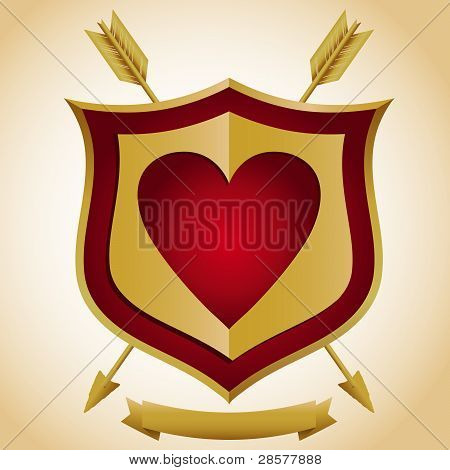Heart Shield with Arrows
