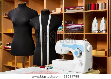 Fashion Designer Studio With Dressmakers Professional Equipment