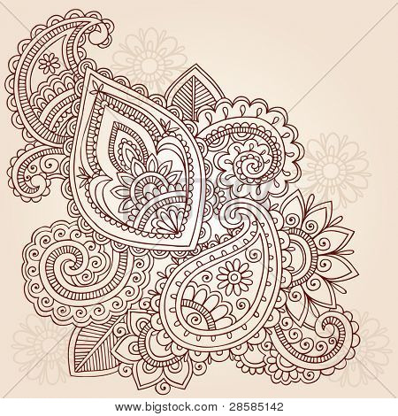Henna Mehndi Doodles Abstract Floral Paisley Vector Illustration Design Element