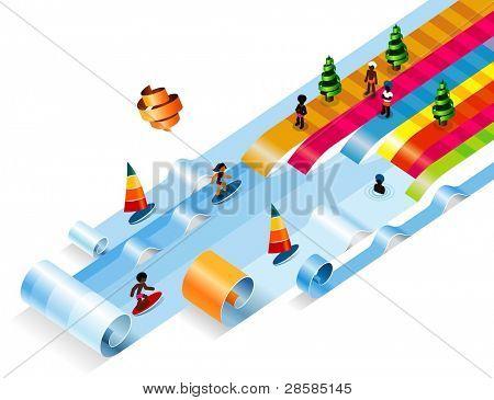 Summer Dreamland Beach. Clean Corner Vector Illustration