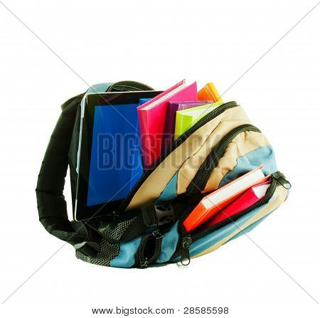 Backpack With Colorful Books And Tablet Pc Against White Backgro