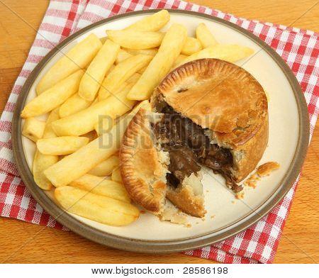Steak & kidney pie with chips