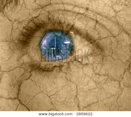 Abstract Of Urban Destruction-Woman\'S Eye Looking At Industrial Building With Dry Cracked Skin