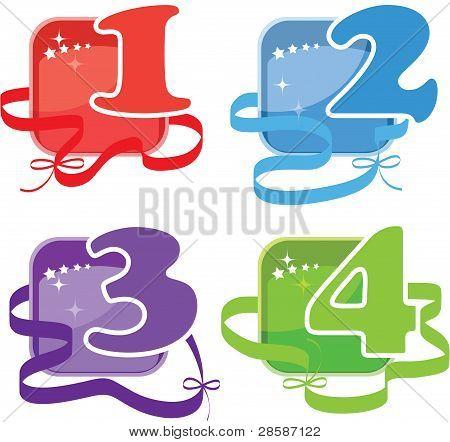 Cuatro botones con números