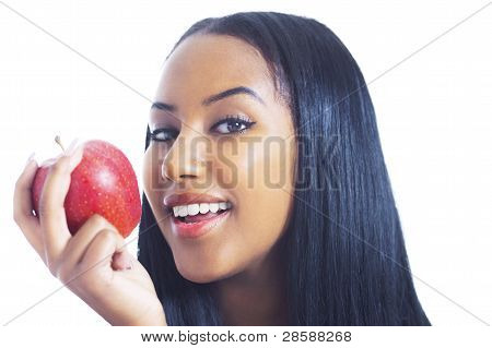 Cheerful Girl With Apple