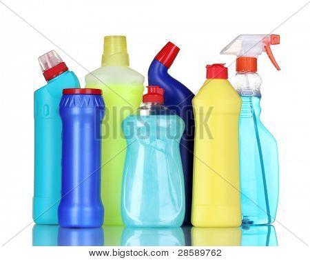 botellas de detergente aislados en blanco