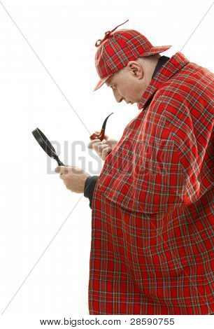 Detective Sherlock Holmes investigate with magnifying glass