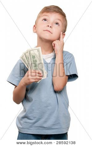 Portrait of a surprised little boy holding a dollars over white background