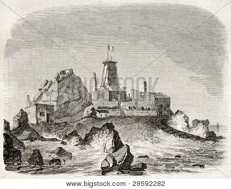 Heaux de Brehat, provisional lighthouse and construction site old illustration, France. Created by Marville, published on Magasin Pittoresque, Paris, 1845