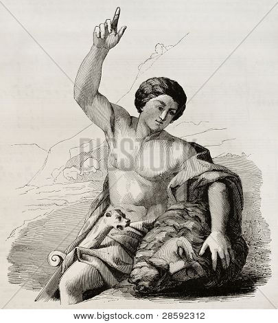 David with the head of Goliath. After painting by Carrache kept in Marseilles museum, published on Magasin Pittoresque, Paris, 1845