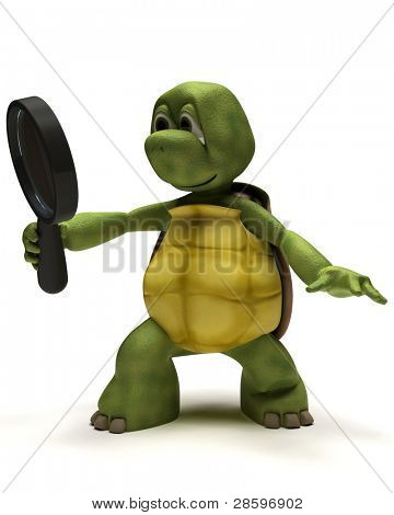 3D render de una tortuga con una lupa
