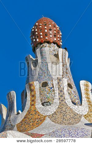 Detail Of The Main Entrance Building At Parc Guell,