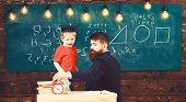 Boy, Child In Graduate Cap Play With Dad, Having Fun And Relaxing During School Break. School Break  poster