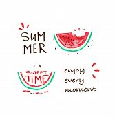 Tropical Happy Summer Slogan With Watermelon Illustration, T-shirt Graphic, Tee Print Design. For T- poster