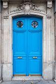 Old Blue Door In The Center Of Paris. Textured Door. Vintage Door poster