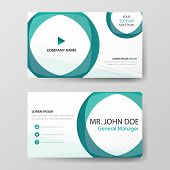 Green Circle Corporate Business Card, Name Card Template ,horizontal Simple Clean Layout Design Temp poster