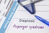 Psychiatric Diagnosis Asperger Syndrome. On Psychiatrist Workplace Is Medical Certificate Which Indi poster