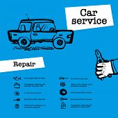 Car Service Concept. Web Banner With Scene Presents Workers In Car Service, Tire Service, Car Repair poster