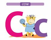 Letter C And Funny Cartoon Cow.  Animals Alphabet A-z. Cute Zoo Alphabet In Vector For Kids Learning poster