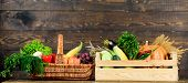 Grocery Shop Concept. Delivery Service Fresh Vegetables From Farm. Buy Fresh Homegrown Vegetables. J poster
