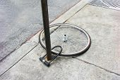 Bike Wheel With Padlock. Theft Of A Bicycle. Bicycle Stolen And Left Only Wheel. poster