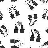 Politic Debate Icon Seamless Pattern Background. Presidential Debates Vector Illustration. Businessm poster