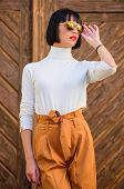 Girl With Makeup Posing In Fashionable Clothes. Fashionable Outfit Slim Tall Lady. Woman Walk In Ele poster
