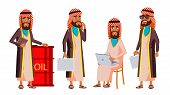 Arab, Muslim Old Man Poses Set Vector. Elderly People. Senior Person. Aged. Oil Production, Sheikh,  poster