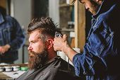 Barber With Hair Clipper Works On Hairstyle For Bearded Man Barbershop Background. Barber Styling Ha poster