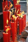 stock photo of emei  - Religious red candles China Emei Shan mountain - JPG