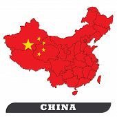 China Map And China Flag. China Map And China Flag Use For Background Drawing By Illustration poster