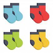 Warm Socks. Set Of Multicolored Pairs Of Socks. Vector Illustration. Eps 10. poster