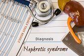 Diagnosis Nephrotic Syndrome Photo. Figure Of Kidney Lies Next To Incription Of Diagnosis Nephrotic  poster