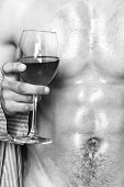 Male Sexy Chest Wet Skin After Bath Wineglass. Degustate Luxury Wine. Drink Wine And Relax. Enjoy Wi poster