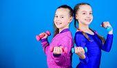 On Way To Stronger Body. Girls Exercising With Dumbbells. Beginner Dumbbells Exercises. Sporty Upbri poster