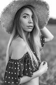 Portrait Girl In Straw Hat, Summer Frank Dress Long Hair. Concept Village Girl Nature. Emotions Tend poster
