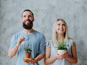 Plant Care. Nature Protection Concept. Smiling Environmentally Friendly Couple With Houseplants. poster