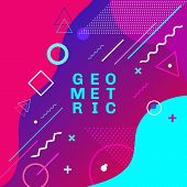 Abstract Colorful Geometric Shapes And Forms Trendy Fashion Memphis Style Card Design Background. Yo poster