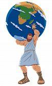 The Titan Atlas Holding The Earth Globe. poster