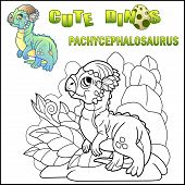 Cute Cartoon Little Dinosaur Pachycephalosaurus, Prehistoric Animal, Funny Illustration poster