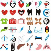 VECTOR - Set of Medical Icons, Symbols, Signs - Human Organs (Lungs, Liver, Kidney, Femur Bone) - Ph