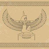 The Egyptian Goddess Isis And Set Of Egypt Hieroglyphs. Animation Portrait Of The Beautiful Egyptian poster
