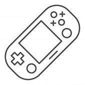 Handheld Game Console Thin Line Icon. Portable Game Pad Vector Illustration Isolated On White. Gamin poster