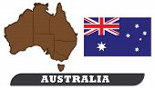 Map Of Australia And Flag Of Australia. Map Of Australia And Flag Of Australia Drawing By Illustrati poster