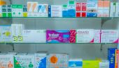 Blurred Picture Of Medicine Shelf In Drug Store. Pharmacy Shop Interiors. Pharmaceutical Products In poster